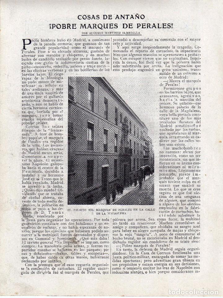 RECORTE PRENSA DE 1919-POBRE MARQUES DE PERALES (Coleccionismo - Laminas, Programas y Otros Documentos)