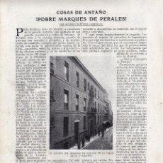 Coleccionismo: RECORTE PRENSA DE 1919-POBRE MARQUES DE PERALES. Lote 67034682
