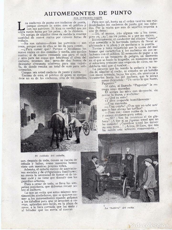 RECORTE PRENSA DE 1919-AUTOMEDONTES DE PUNTO (Coleccionismo - Laminas, Programas y Otros Documentos)