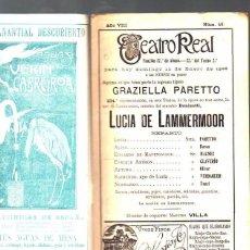 Coleccionismo: PROGRAMA OFICIAL . TEATRO REAL. OPERA. 1908.LUCIA DE LAMMERMOOR.. Lote 67162301