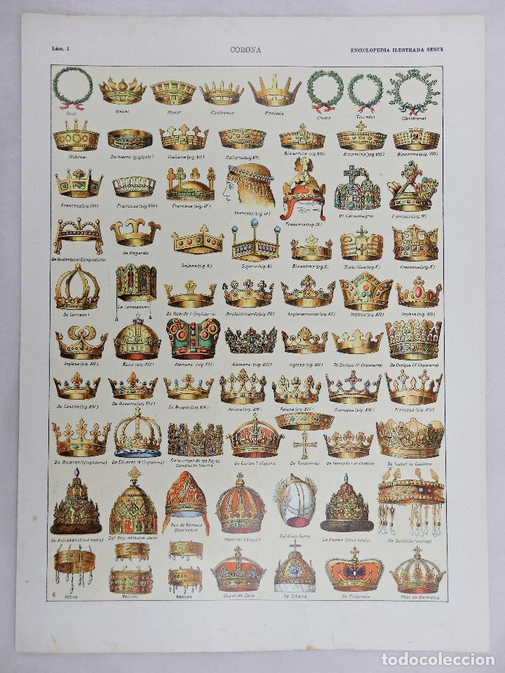 Coleccionismo: ENCICLOPEDIA SEGUÍ. HOJA ORIGINAL. CORONA LÁMINAS I y II - Foto 2 - 67242749
