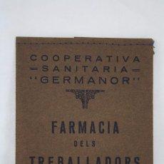 Collezionismo: ANTIGUA FUNDA - FARMÀCIES DELS TRABALLADORS / FARMACIA - COOPERATIVA GERMANOR. BADALONA I MONTGAT. Lote 67578325