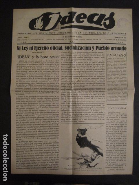 HOSPITALET-29 DICIEMBRE 1936-IDEAS-NUMERO 1-MOVIMIENTO LIBERTARIO -GUERRA CIVIL-VER FOTOS- (V-7594) (Coleccionismo - Varios)