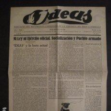 Coleccionismo: HOSPITALET-29 DICIEMBRE 1936-IDEAS-NUMERO 1-MOVIMIENTO LIBERTARIO -GUERRA CIVIL-VER FOTOS- (V-7594). Lote 67601209