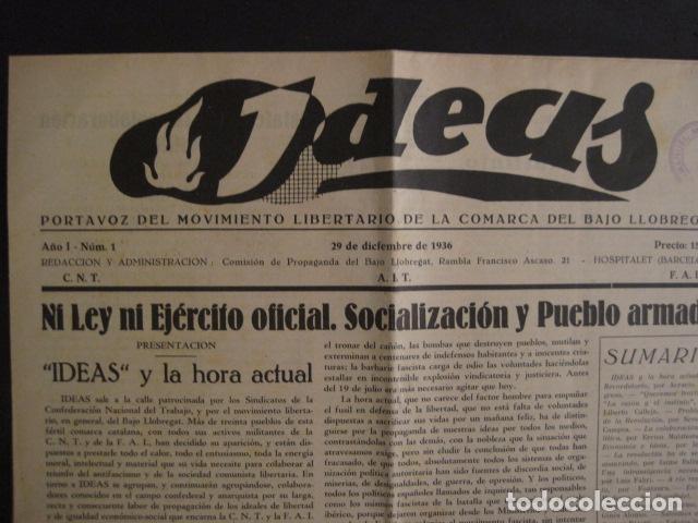 Coleccionismo: HOSPITALET-29 DICIEMBRE 1936-IDEAS-NUMERO 1-MOVIMIENTO LIBERTARIO -GUERRA CIVIL-VER FOTOS- (V-7594) - Foto 2 - 67601209
