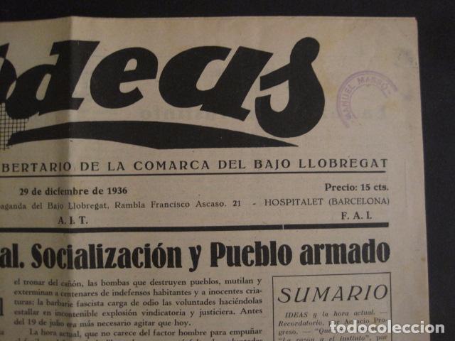 Coleccionismo: HOSPITALET-29 DICIEMBRE 1936-IDEAS-NUMERO 1-MOVIMIENTO LIBERTARIO -GUERRA CIVIL-VER FOTOS- (V-7594) - Foto 3 - 67601209