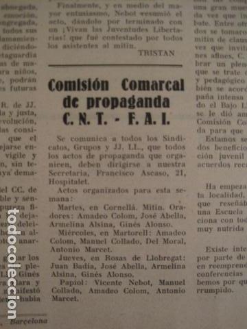 Coleccionismo: HOSPITALET-29 DICIEMBRE 1936-IDEAS-NUMERO 1-MOVIMIENTO LIBERTARIO -GUERRA CIVIL-VER FOTOS- (V-7594) - Foto 9 - 67601209