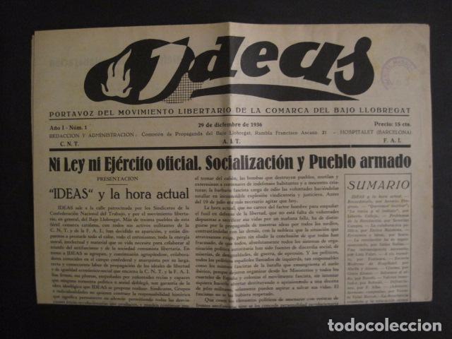 Coleccionismo: HOSPITALET-29 DICIEMBRE 1936-IDEAS-NUMERO 1-MOVIMIENTO LIBERTARIO -GUERRA CIVIL-VER FOTOS- (V-7594) - Foto 10 - 67601209