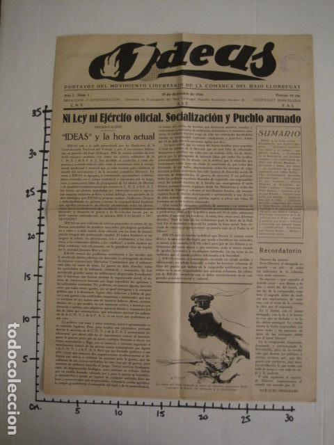 Coleccionismo: HOSPITALET-29 DICIEMBRE 1936-IDEAS-NUMERO 1-MOVIMIENTO LIBERTARIO -GUERRA CIVIL-VER FOTOS- (V-7594) - Foto 11 - 67601209