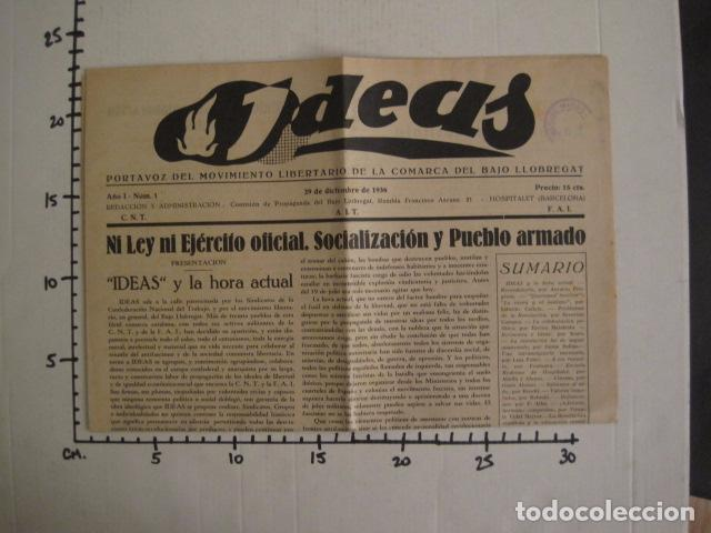Coleccionismo: HOSPITALET-29 DICIEMBRE 1936-IDEAS-NUMERO 1-MOVIMIENTO LIBERTARIO -GUERRA CIVIL-VER FOTOS- (V-7594) - Foto 12 - 67601209