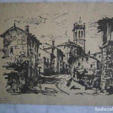 Coleccionismo: DIBUJO DE GUILLERMO FRESQUET - AMPURDAN - PUEBLO - MIDE 28 X 22 C.M.. Lote 67676633