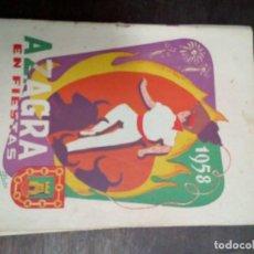 Coleccionismo: AZAGRA 1958 PROGRAMA FIESTAS. Lote 67839929