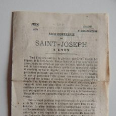 Coleccionismo: JUIN 1870. ÉGLISE ST. BONAVENTURE - ARCHICONFRÉRIE DE SAINT-JOSEPH A LYON. Lote 68658553