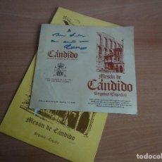 Collectionnisme: MESON DE CÁNDIDO. CARTA DEL RESTAURANTE Y FOLLETO DEDICADO POR CÁNDIDO (7 DE MARZO DE 1987). Lote 68670785