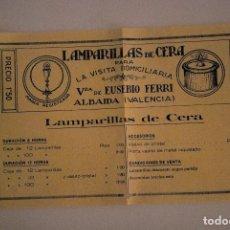 Coleccionismo: PRECIOSA PUBLICIDAD ORIGINAL ANTIGUA LAMPARILLAS DE CERA VDA DE EUSEBIO FERRI, ALBAIDA. Lote 69571589