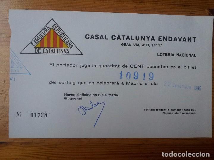 PARTICIPACIÓN LOTERIA NACIONAL ESQUERRA REPUBLICANA DE CATALUNYA. 22 DICIEMBRE 1980 (Coleccionismo - Laminas, Programas y Otros Documentos)