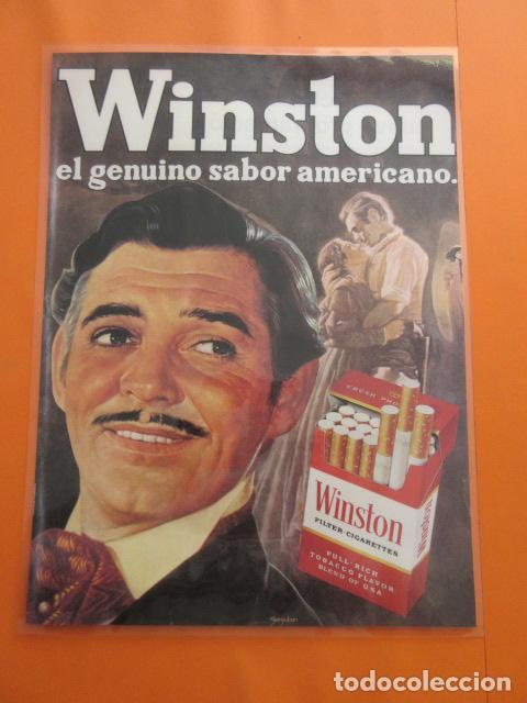 CARTEL - REPRODUCCION ANTIGUA PUBLICIDAD TABACO WINSTON CARK GABLE 29 X 43 (INC.MARG.APROX. ) (Coleccionismo - Objetos para Fumar - Otros)