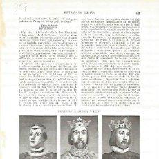 Coleccionismo: LAMINA 4770: RETRATOS DE PEDRO I EL CRUEL ENRIQUE II EL DE LAS MERCEDES Y JUAN I. Lote 71446866