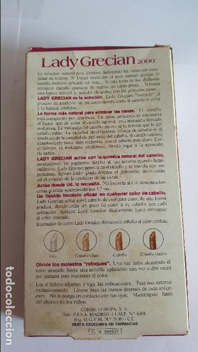Coleccionismo: ANTIGUA BOTELLA DE TINTE PARA LAS CANAS LADY GRECIAN 2000 - - Foto 4 - 71580571
