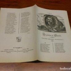 Collezionismo: 1871 PLIEGO DE CORDEL LA PRISION DE QUEVEDO - ROMANCE HISTORICO TRADICIONAL 1639 - Nº 23. Lote 102453491