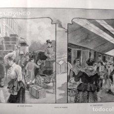 Coleccionismo: PPIO. 1900-GRABADO. DE VERANEO-AL TREN EXPRESO-AL TREN BOTIJO. DIBUJO PEDRERO.. Lote 43619211