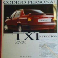 Coleccionismo: PUBLICIDAD AUTOMOVIL RENAULT 19 TXI. Lote 71990834