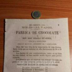 Coleccionismo: ALICANTE - ANUNCIO DE FABRICA DE CHOCOLATE JOSE RIBERA GUARNER CALISTO PEREZ -AÑO 1863- (REFAN29)**. Lote 72021955