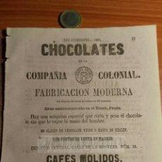 Coleccionismo: MADRID TIVOLI PRADO - ANUNCIO DE CHOCOLATES DE LA COMPAÑIA COLONIAL (2 CARAS) -AÑO 1863- (REFAN29)**. Lote 72023763