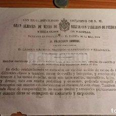 Coleccionismo: MADRID BARCELONA - MESAS DE BILLAR FRANCISCO AMOROS ( EBANISTA DE LA REAL CASA)-AÑO1863- (REFAN29)**. Lote 72025631