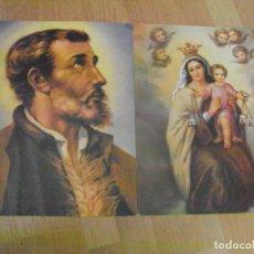 Coleccionismo: 2 LAMINAS RELIGIOSAS DE SAN FRANCISCO JAVIER Y LA VIRGEN DEL CARMEN. Lote 173026483