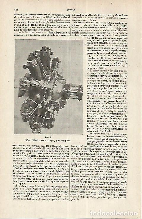 LAMINA ESPASA 17664: MOTOR DIESEL SISTEMA CLERGET (Coleccionismo - Laminas, Programas y Otros Documentos)