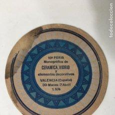 Coleccionismo: POSA VASOS DE 10ª FERIA MONOGRAFICA DE CERAMICA Y VIDRIO VALENCIA 1974. Lote 72839051