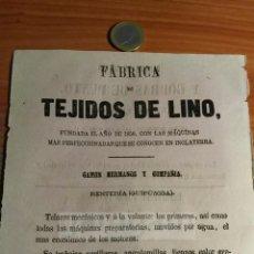 Coleccionismo: RENTERIA GUIPUZCOA - ANUNCIO DE FABRICA DE TEJIDOS DE LINO DE GAMON HERMANOS -AÑO 1863- (REFAN30)**. Lote 72861019