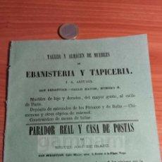Coleccionismo: DONOSTIA SAN SEBASTIAN - ANUNCIO MUEBLES DE LUJO J.A. ARSUAGA, MIGUEL JOSE IRAZU -AÑO1863-(RFAN30)**. Lote 72861595