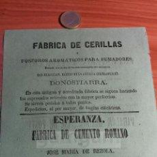 Coleccionismo: DONOSTIA SAN SEBASTIAN - ANUNCIO CEMENTO ROMANO JOSE MARIA DE REZOLA , CERILLAS -AÑO1863-(REFAN30)**. Lote 72861855