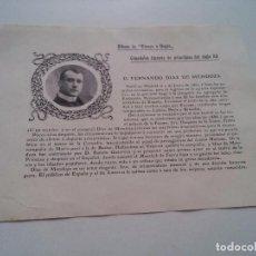 Coleccionismo: FICHA ESPAÑOLES ILUSTRES - AÑO 1904 - FERNANDO DIAZ DE MENDOZA - REVERSO ESCRITO - VER FOTOS. Lote 73042203