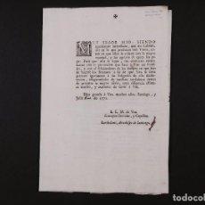 Collezionismo: ESCRITO DE BARTHOLOMÉ, ARZOBISPO DE SANTIAGO 1771. Lote 73077259