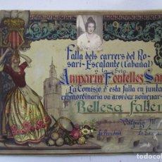 Coleccionismo: NOMBRAMIENTO BELLEZA FALLERA FALLA CARRERS ROSARI ESCALANTE CABAÑAL, VALENCIA. AÑO 1946. Lote 73440719