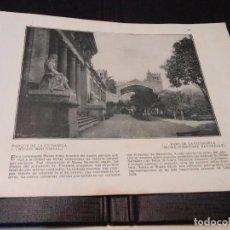 Coleccionismo: PARQUE CIUDADELA MUSEO MARTORELL- BARCELONA 1918 - LAMINA DE LIBRO - PUBLICIDAD REVERSO - VER FOTOS. Lote 73656935