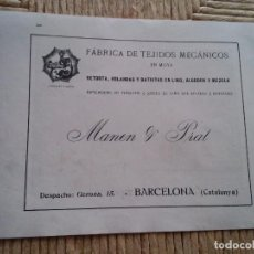 Coleccionismo: PUBLICIDAD 1918 - FABRICA DE TEJIDOS - MANEN Y PRAT - BARCELONA - LAMINA DE LIBRO - VER FOTOS. Lote 73676835