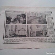 Coleccionismo: PUBLICIDAD 1918 - CLINICA MONTSERRAT - BARCELONA - LAMINA DE LIBRO - VER FOTOS. Lote 73683259