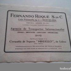 Coleccionismo: PUBLICIDAD 1918 - FERNANDO ROQUE AG. TRANSP. CALLE FONTAN - BARCELONA - LAMINA DE LIBRO - VER FOTOS. Lote 73688587