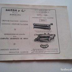 Coleccionismo: PUBLICIDAD 1918 - BARBA Y CIA. IMPORTACION Y EXPORTACION - BARCELONA - LAMINA DE LIBRO - VER FOTOS. Lote 73689123