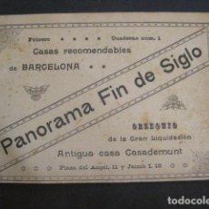 Coleccionismo: PANORAMA FIN DE SIGLO - GRAN LIQUIDACION ANTIGUA CASA CASADEMUNT - VER FOTOS Y MEDIDAS - (V-8255). Lote 73696095