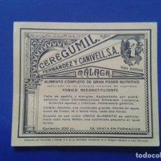 Coleccionismo: ETIQUETA CEREGUMIL FERNANDEZ Y CARNIVELL S.A. MALAGA. Lote 73776111