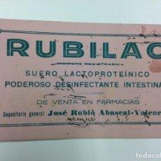 Coleccionismo: ANTIGUO PAPEL SECANTE PUBLICIDAD FARMACIA RUBILAC. Lote 73786955