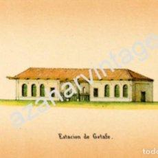 Coleccionismo: ANTIGUA LAMINA, ESTACION DE FERROCARRIL DE GETAFE, 185X118MM. Lote 74628203