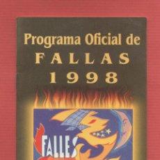 Coleccionismo: PROGRAMA OFICIAL DE FALLAS 1998 EDITADO POR JUNTA CENTRAL FALLERA IMPRESION GRAFICAS SEDAVI - LCV599. Lote 74791779