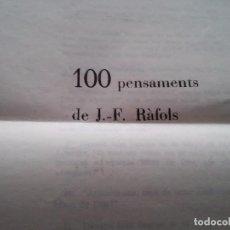 Collectionnisme: PENSAMENTS DE J..-F. RÀFOLS -IMPRES A L'ABADIA STA. MARIA POBLET - 1966. Lote 74860959
