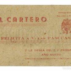 Coleccionismo: FELICITACION DE NAVIDAD EL CARTERO. AGUILA FRANQUISTA. SALUDO A FRANCO. ARRIBA ESPAÑA. CORREOS.. Lote 74869091